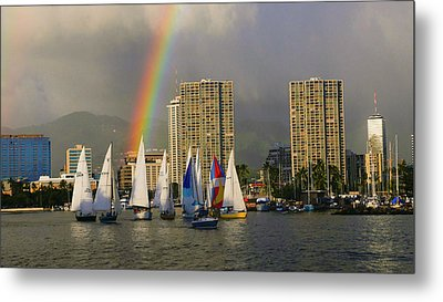 Friday Night Sailboat Race, Ala Wai Metal Print
