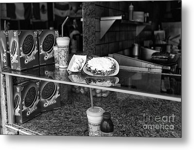 Fried Dough At Seaside Heights Mono Metal Print by John Rizzuto