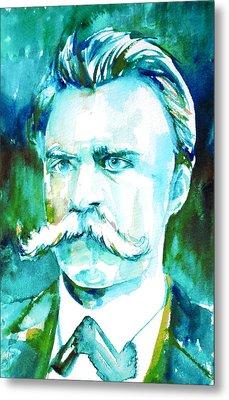 Friedrich Nietzsche Watercolor Portrait.1 Metal Print by Fabrizio Cassetta