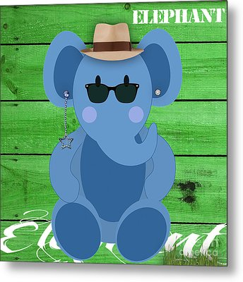 Friendly Elephant Art Metal Print