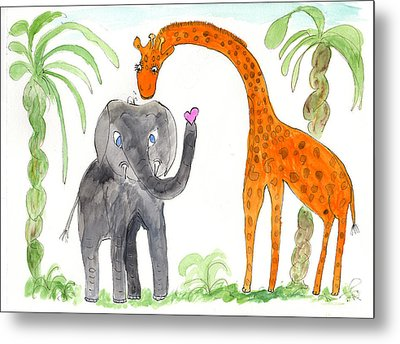 Metal Print featuring the painting Friends - Elephoot And Elliot by Helen Holden-Gladsky