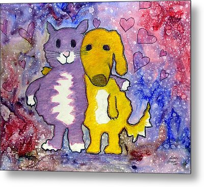 Metal Print featuring the mixed media Friends by Kenny Henson