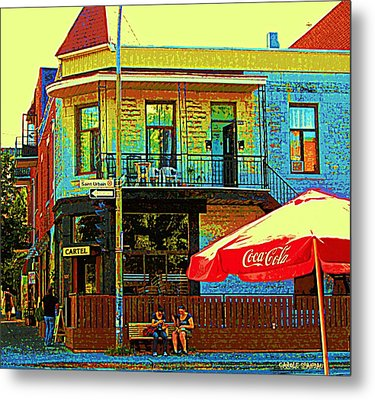 Friends On The Bench At Cartel Street Food Mexican Restaurant Rue Clark Art Of Montreal City Scene Metal Print by Carole Spandau