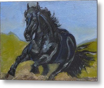 Metal Print featuring the painting Friesian by Jessmyne Stephenson