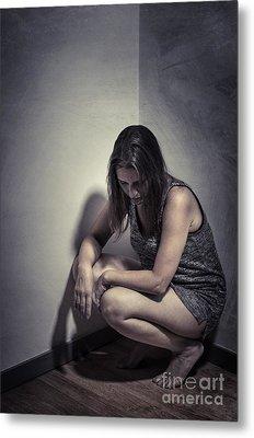 Frightened Woman Metal Print