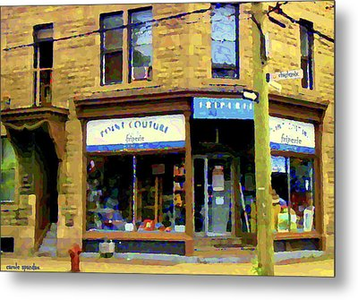 Friperie Point Couture Psc Rue Charlevoix South West Montreal Street Scene Art Carole Spandau Metal Print by Carole Spandau