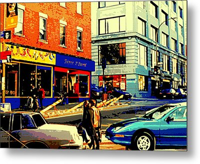 Friperie St.laurent Clothing Variety Dress Shop Downtown Corner Store City Scene Montreal Art Metal Print by Carole Spandau
