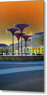 Frog Fountain Jazzed Metal Print