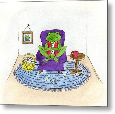 Frog In Purple Chair Metal Print