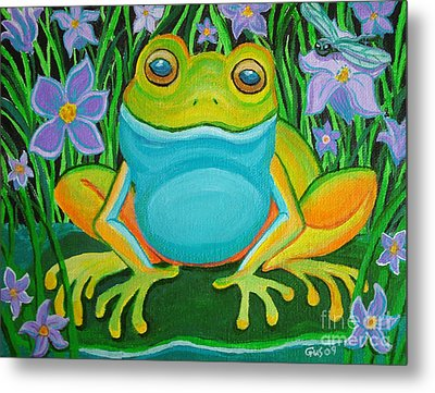 Frog On A Lily Pad Metal Print by Nick Gustafson