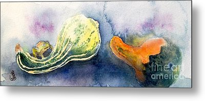 Froggy And Gourds Metal Print by Yoshiko Mishina