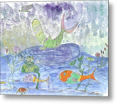 Metal Print featuring the painting Froggy Delight And Fly Fishing by Helen Holden-Gladsky
