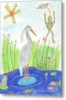 Froggy Fishing Metal Print by Helen Holden-Gladsky