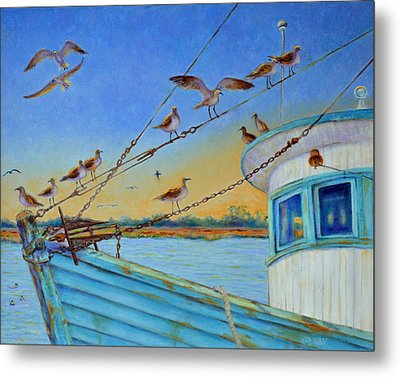 Metal Print featuring the painting Frogmore Shrimp Birds by Dwain Ray