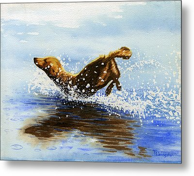 Frolicking Dog Metal Print