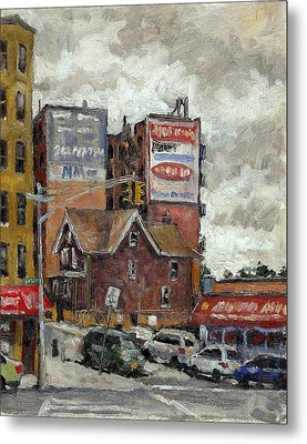 From 230th Street The Bronx Oil On Panel Metal Print by Thor Wickstrom