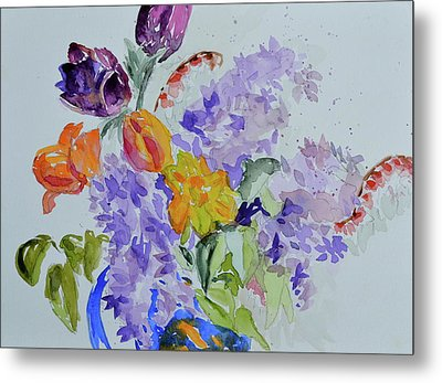 Metal Print featuring the painting From Grammy's Garden by Beverley Harper Tinsley