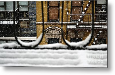 From My Fire Escape - Arches In The Snow Metal Print by Miriam Danar
