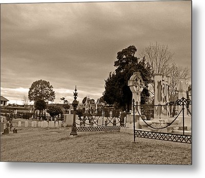 Metal Print featuring the photograph From One Headstone To Another.......shhhh by Max Mullins