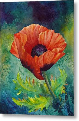 Metal Print featuring the painting From The Poppy Patch by Karen Mattson