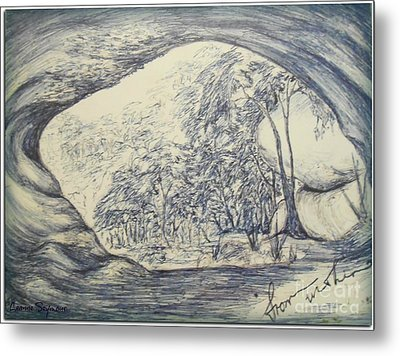 Metal Print featuring the drawing From Within by Leanne Seymour