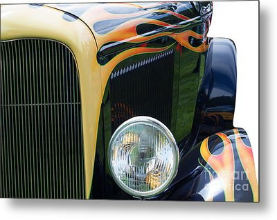 Metal Print featuring the photograph Front Of Hot Rod Car by Gunter Nezhoda