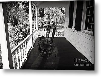 Front Porch Chairs Metal Print by John Rizzuto