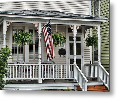 Front Porch Flag Metal Print by Victor Montgomery
