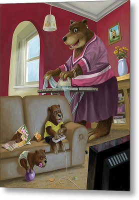 Front Room Bear Family Son Playing Computer Game Metal Print by Martin Davey