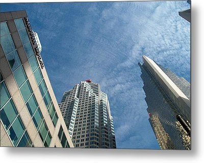Front Stree Down Town Toronto Sky View Through The Hotels Skyscraper Condo  Housing Buildings Water  Metal Print