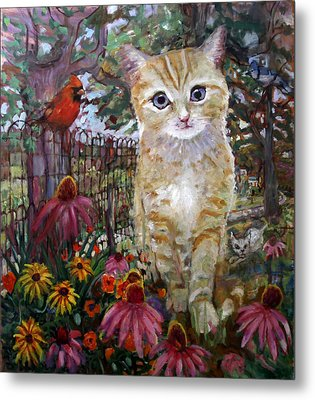 Front Yard Kitty Metal Print