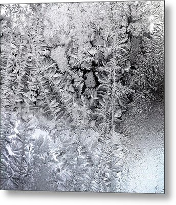 Frost Windowpane In Maine Number One Metal Print by Patricia E Sundik