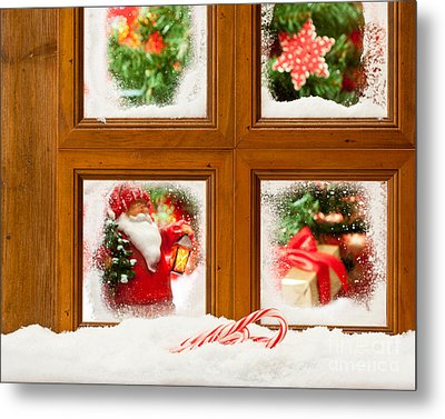 Frosty Christmas Window Metal Print