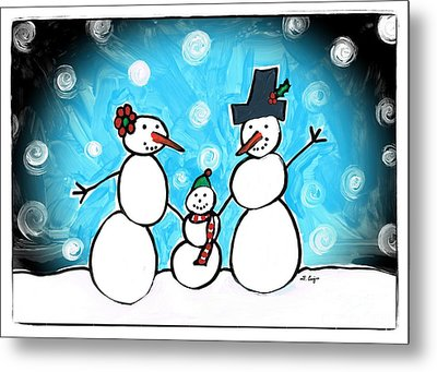 Frosty Family 1 Merry Christmas By Sharon Cummings Metal Print by Sharon Cummings