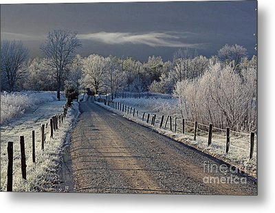 Frosty Sparks Lane Metal Print