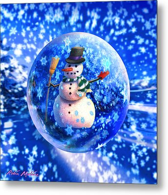 Frosty The Snowglobe Metal Print