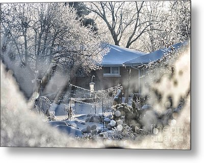 Frosty Winter Window Metal Print by Thomas Woolworth