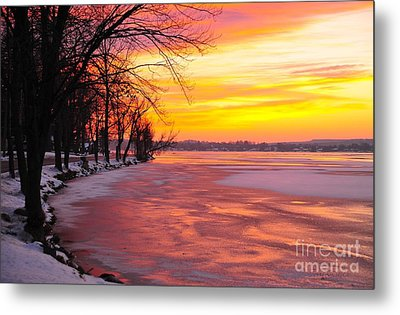 Metal Print featuring the photograph Frozen Dawn At Lake Cadillac  by Terri Gostola
