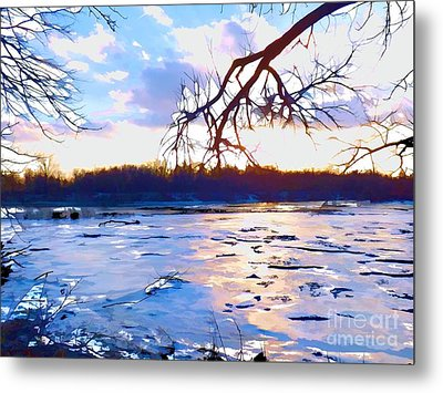 Frozen Delaware River Sunset Metal Print by Robyn King