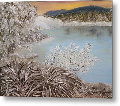 Frozen Lake Metal Print by J Cheyenne Howell