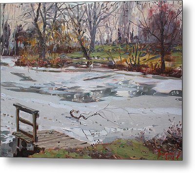 Frozen Pond Metal Print by Ylli Haruni