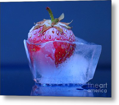 Frozen Strawberry Ice Metal Print