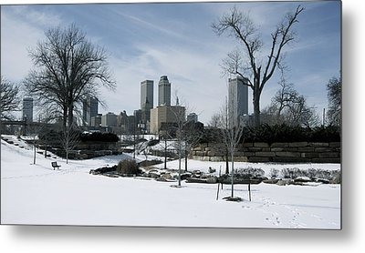 Frozen Tulsa Metal Print by Robert Harmon