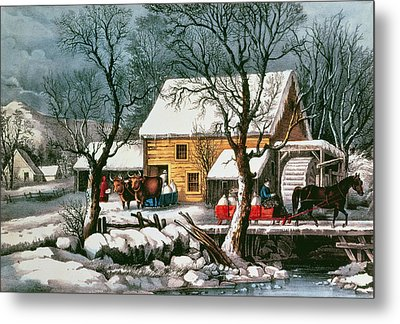 Frozen Up Metal Print by Currier and Ives