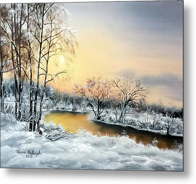 Metal Print featuring the painting Frozen by Vesna Martinjak