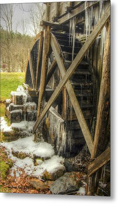 Frozen Water Wheel Metal Print