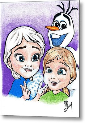 Frozen Young Anna And Young Elsa Metal Print