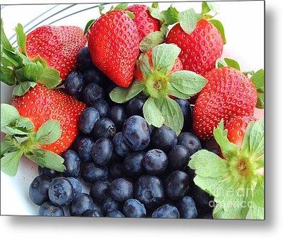 Fruit 2- Strawberries - Blueberries Metal Print
