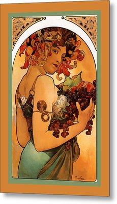 Fruit Metal Print by Alphonse Maria Mucha