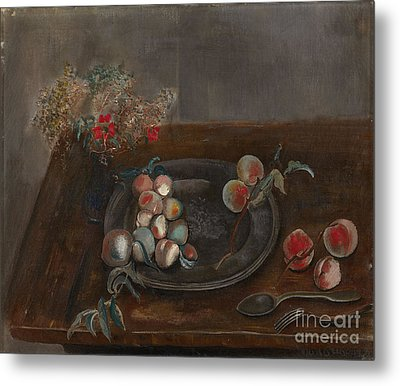 Fruit And Flowers On A Table Metal Print by Celestial Images